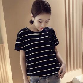 2019夏季新款韩版宽松大码条纹短袖T恤女上衣打底