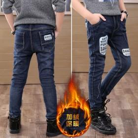 男童加绒牛仔裤儿童裤子3-12岁