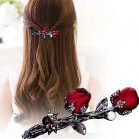 韩版头饰创意时尚镶钻弹簧发卡 白月光发夹玫瑰发夹