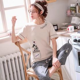 【春夏新款】短袖长裤纯棉睡衣女套装韩版家居服