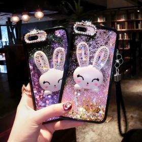 卡通苹果流沙手机壳可爱流沙手机壳兔子女款