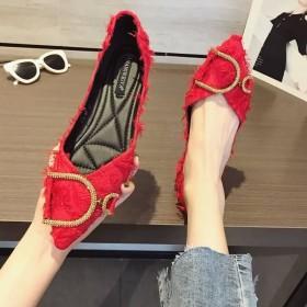 2019夏季新款韩版时尚水钻百搭尖头单鞋女平底鞋