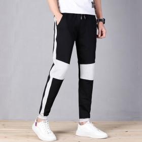 纯棉运动裤男休闲裤拼接时尚裤子学生