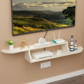 实木机顶盒墙壁挂架墙上置物架子免打孔客厅隔板