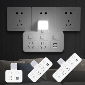 家用多功能插座面板USB转接器白色冷暖小夜灯防雷安