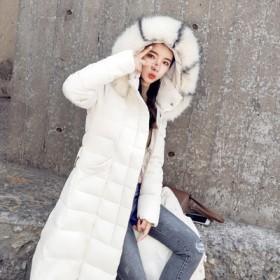 女装棉衣加长款过膝韩版修身棉袄外套毛领加厚