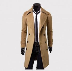 长款双排扣风衣男式呢子外套修身大衣男清仓打折
