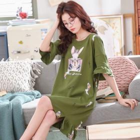 新款夏季纯棉短袖睡裙女卡通可爱甜美学生睡衣