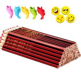50支铅笔5个握笔器8块橡皮六角红木铅笔套装