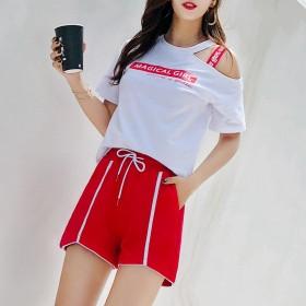 纯棉短裤女2019新款韩版运动裤女装港风条纹裤学生