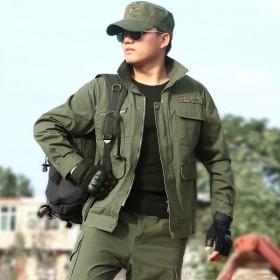 男装军绿色纯棉工作服套装男