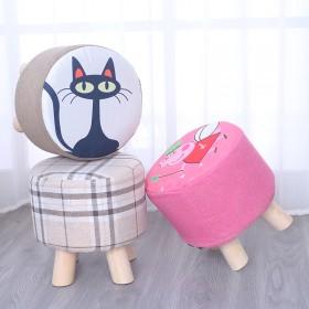 实木小凳子时尚创意沙发凳客厅圆凳茶几凳布艺小板凳家