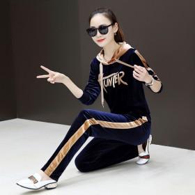 金丝天鹅绒休闲运动服套装女2019春季韩版女装连帽