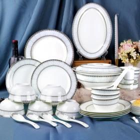 景德镇骨瓷餐具58件套 碗碟套装 家用组合