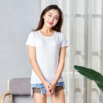 新款短袖T恤女莱卡棉纯棉圆领修身打底衫女体恤