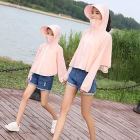 夏天户外出游防紫外线防晒衣女短款亲子款带帽檐透气宽