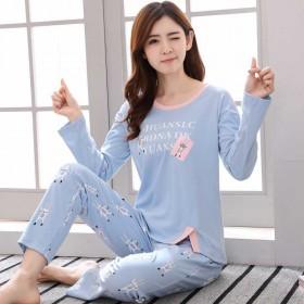 睡衣内衣女纯棉长袖套装韩版卡通学生女生家居服春秋季
