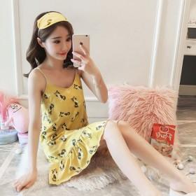 纯棉吊带连衣裙夏季小清新性感低胸连体短裙可外穿睡裙