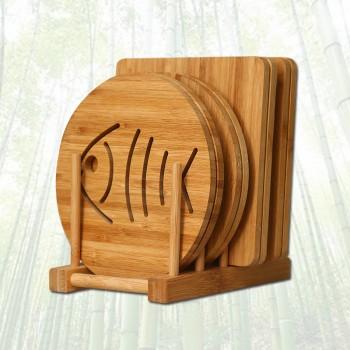 4个装厨房隔热垫餐桌垫耐热家用碗盘垫子砂锅垫杯垫竹
