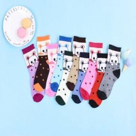 5双装 春秋冬款儿童袜子中筒卡通袜子男女童袜学生袜
