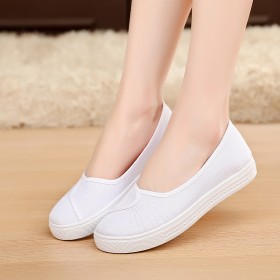 护士鞋白色平底女布鞋小白鞋夏工作鞋美容鞋学生鞋透气