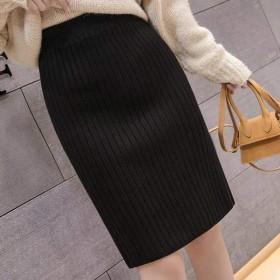 新款开叉针织半身裙包臀一步裙纯色针织毛线短裙女