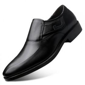 英伦大码皮鞋男士商务正装鞋子男一脚蹬套脚青年婚鞋男