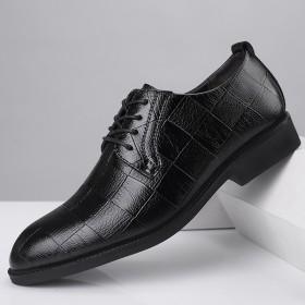 男士休闲鞋大码商务正装皮鞋系带百搭时尚鳄鱼纹婚鞋男