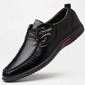 休闲皮鞋男士商务正装系带百搭软面鞋子男平底驾车鞋子