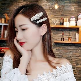 2件套 韩国ins珍珠发夹少女卡子bb夹边夹一字夹