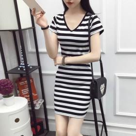 韩版修身黑白条纹连衣裙女短袖显瘦包臀中长款打底衫