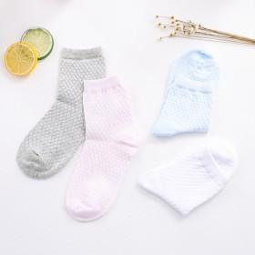 4双装春秋夏季儿童纯棉袜 薄款中筒小学生透气网眼袜