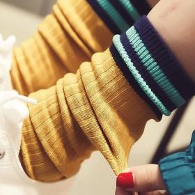 堆堆袜女韩国秋冬新款百搭全棉高筒袜复古学院风日系