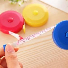 糖果色可爱尺子 软皮尺 自动伸缩型塑料米尺 1.5