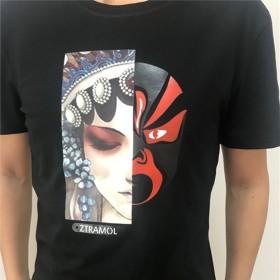 感温变色男T恤脸谱印花潮流韩版个性男装圆领半袖
