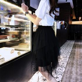 不规则半身裙ins超火的纱裙女半身裙春夏新款网纱裙