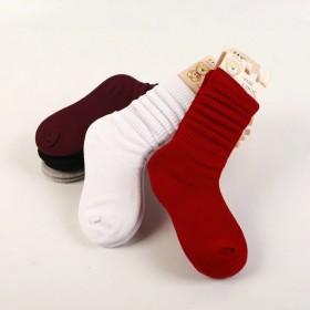 秋冬新款全棉糖果色儿童堆堆袜 中筒韩版潮流儿童棉袜