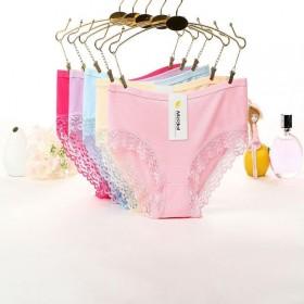 女士内裤莫代尔蕾丝花边纯棉三角裤纯色低腰少女纯色纯