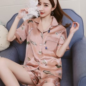 套装丝绸睡衣女士夏季仿真丝开衫西装领短袖情侣睡衣女