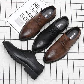秋冬英伦雕花男鞋潮流韩版尖头商务正装结婚鞋男士布洛