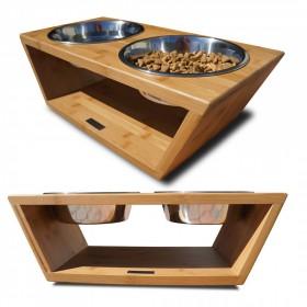 狗猫碗盆环保实木喂食器双碗不锈钢盆中大型犬宠物用品