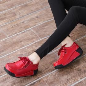 新款真皮女鞋松糕厚底透气休闲鞋摇摇鞋镂空豆豆鞋