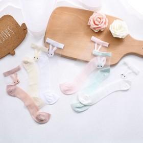 4双 儿童袜子夏季超薄款女童冰丝袜蕾丝透明水晶袜