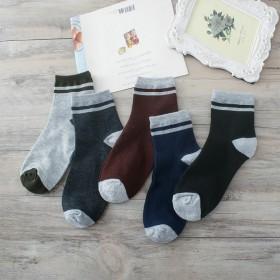 秋冬男士中筒袜子纯棉休闲两杠男袜 条纹透气运动袜子