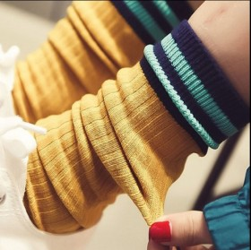 堆堆袜女韩国秋冬新款百搭全棉高筒袜复古学院风日系条
