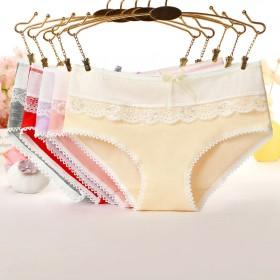 糖果纯色内裤 蕾丝边女式内裤 蝴蝶结内裤女 女士纯