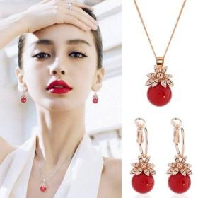 韩版可爱幸运红珠花瓣水晶耳环项链套装甜美气质耳坠女