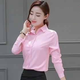 白衬衫女修身长短袖职业装大码工作服正装蓝色白衬