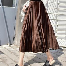 金丝绒半身裙女韩版高腰长裙百褶裙