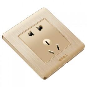 国际电工开关插座86型墙壁插带五孔插座家用暗装电源